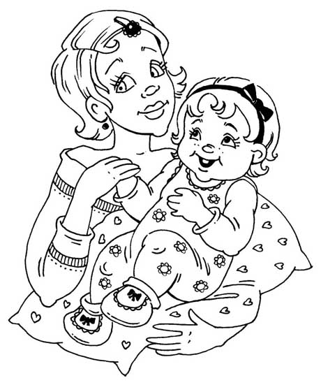 mother daughter coloring pages - photo#26