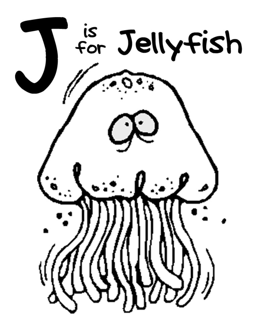 J coloring pages print - Jellyfish Coloring Pages