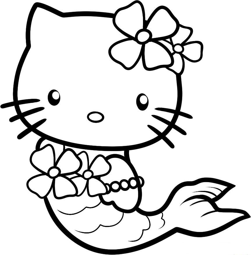 Hello kitty mermaid coloring pages to download and print for free