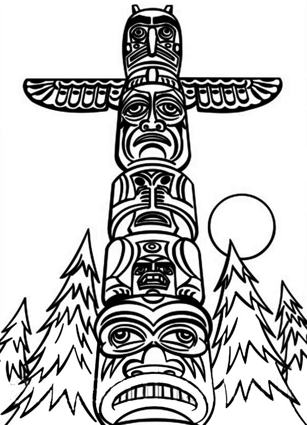 totem pole coloring pages - photo#25