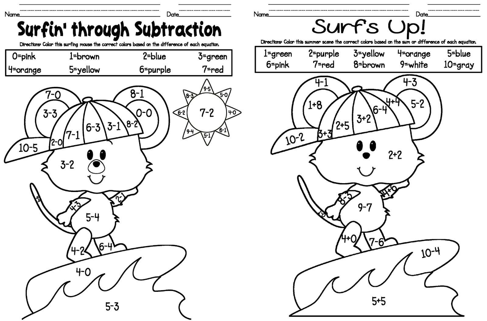 Printables Coloring Subtraction Worksheets free addition and subtraction color worksheets coloring page pages print kids color