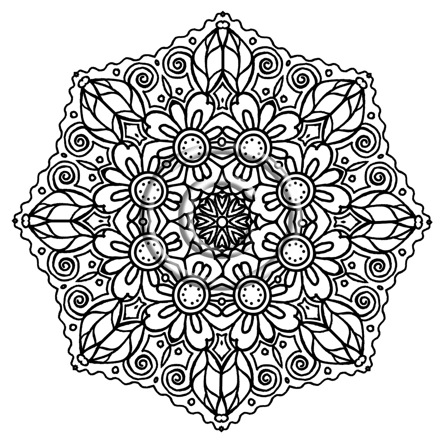 Detailed flower coloring pages
