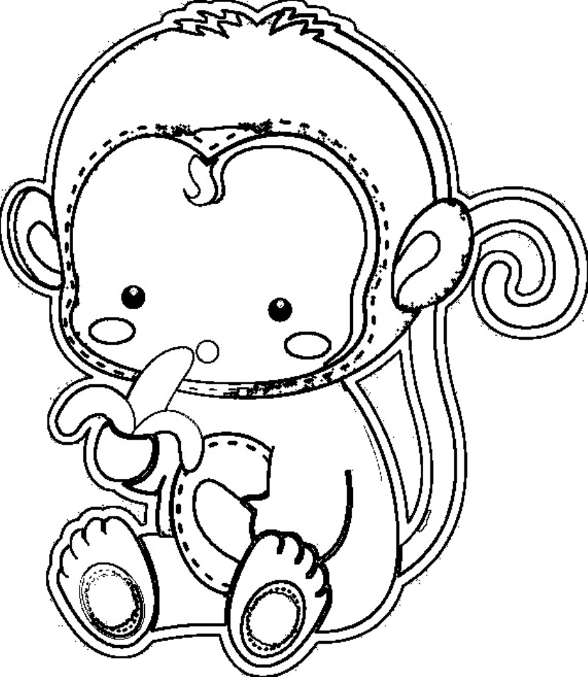 This is an image of Bright Cute Monkey Coloring Pages