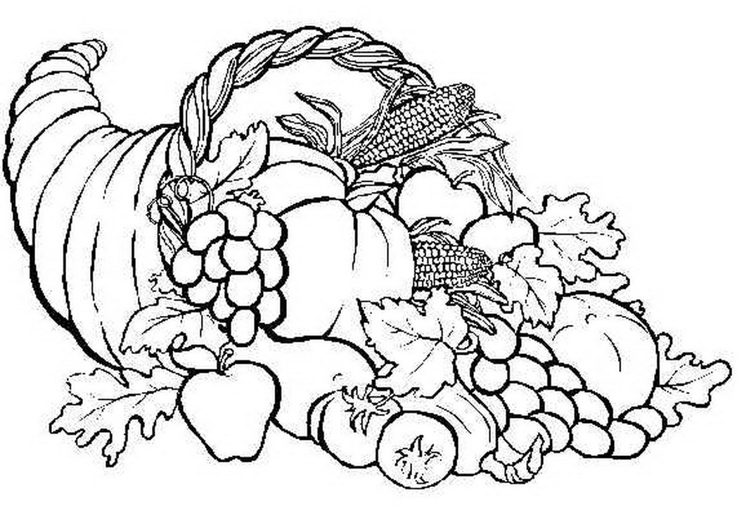 Cornucopia Coloring Pages on horn of plenty coloring pages