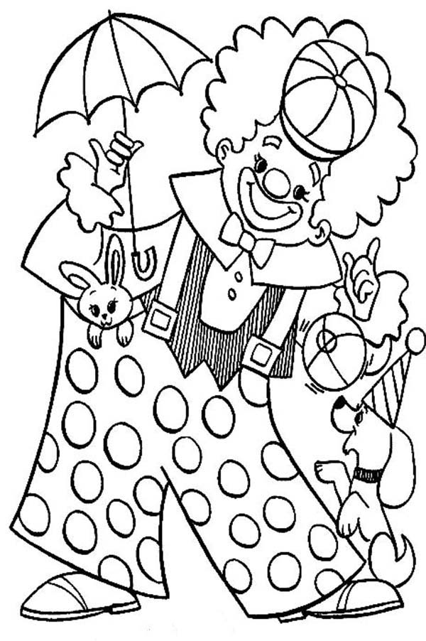 clown party circus coloring pages - photo#23