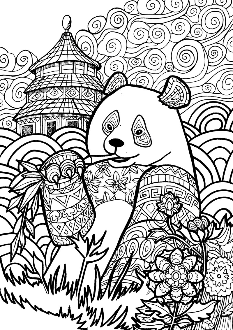Groovy Animals Coloring Pages : Art therapy coloring pages to download and print for free