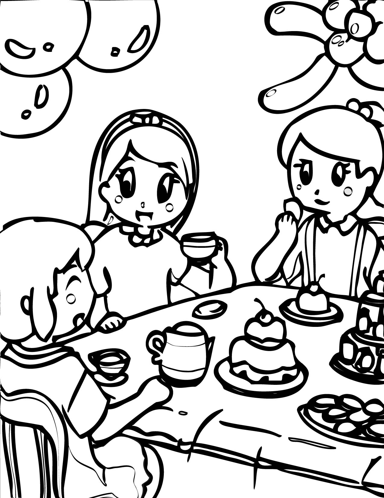 Tea party coloring pages to download