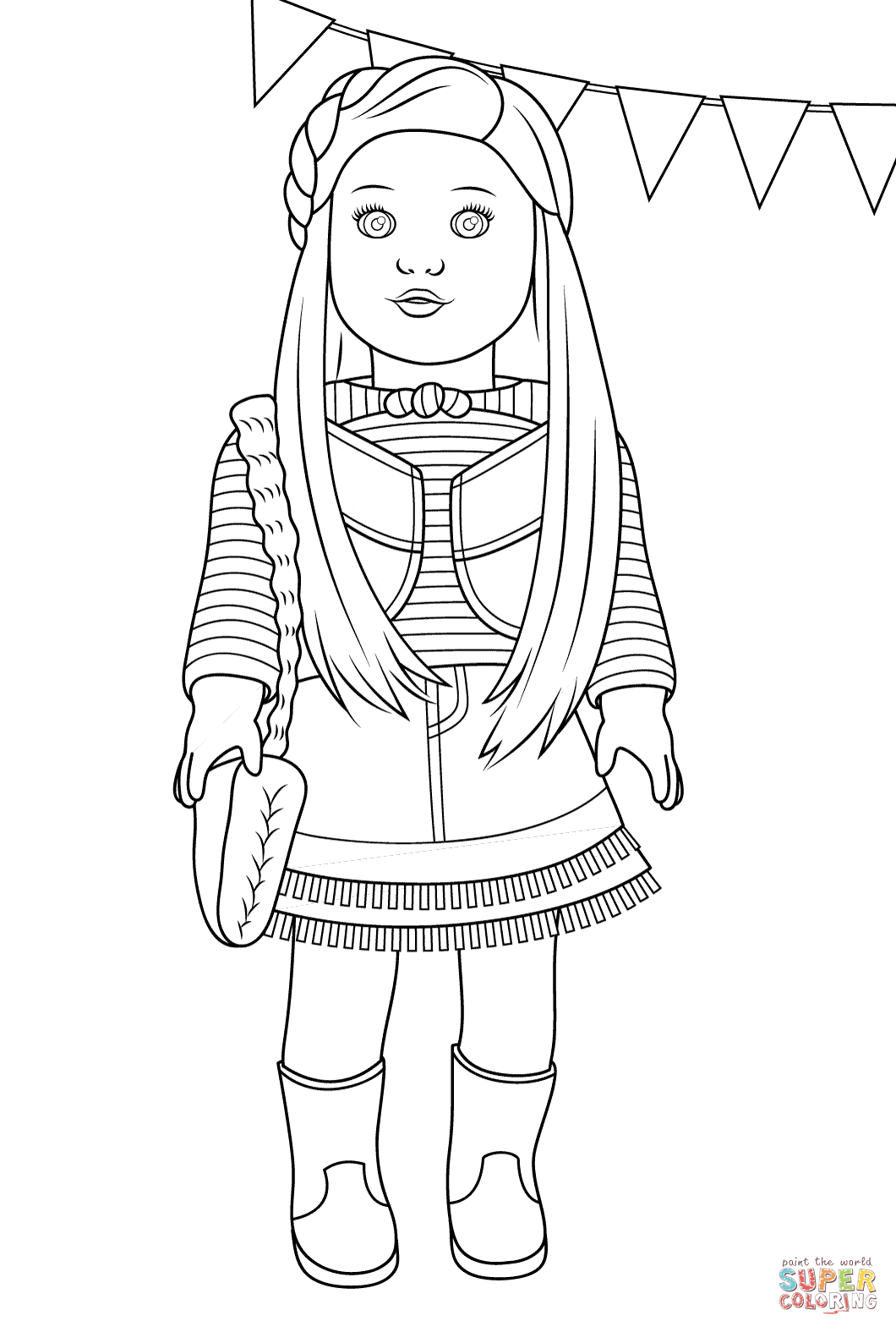 american girl doll coloring pages to download and print for free - Coloring Page Of A Girl