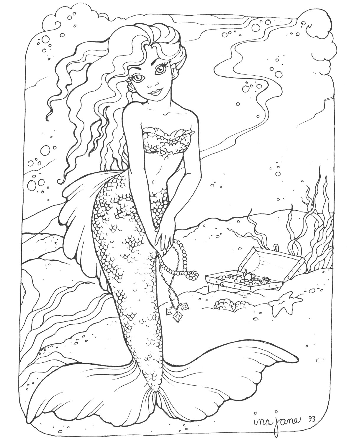 Mermaid Coloring Pages Realistic Mermaid Coloring Pages Download And Print For Free