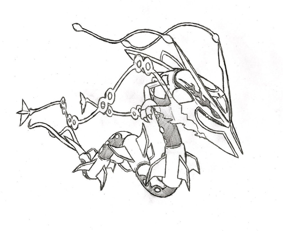 Free Mega Pokemon Coloring Pages : Rayquaza coloring pages download and print for free