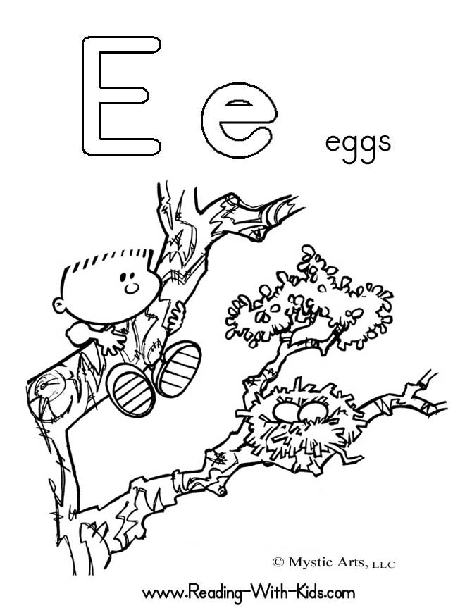 Lowercase e coloring pages download and print for free