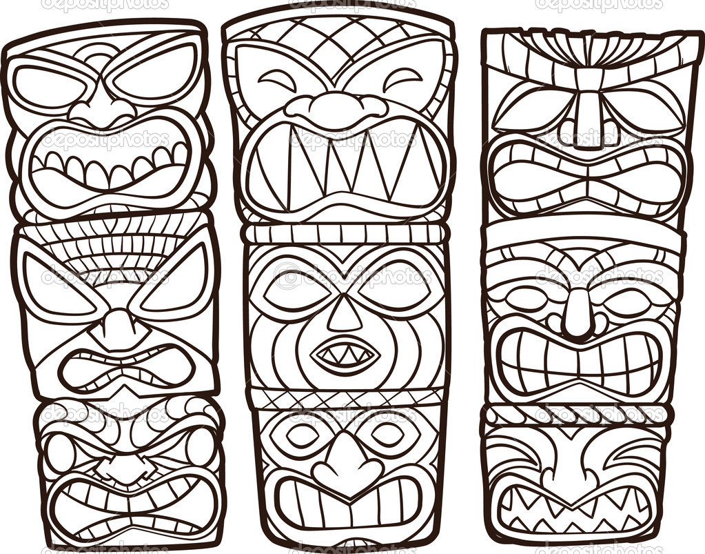tiki masks coloring pages - photo#17
