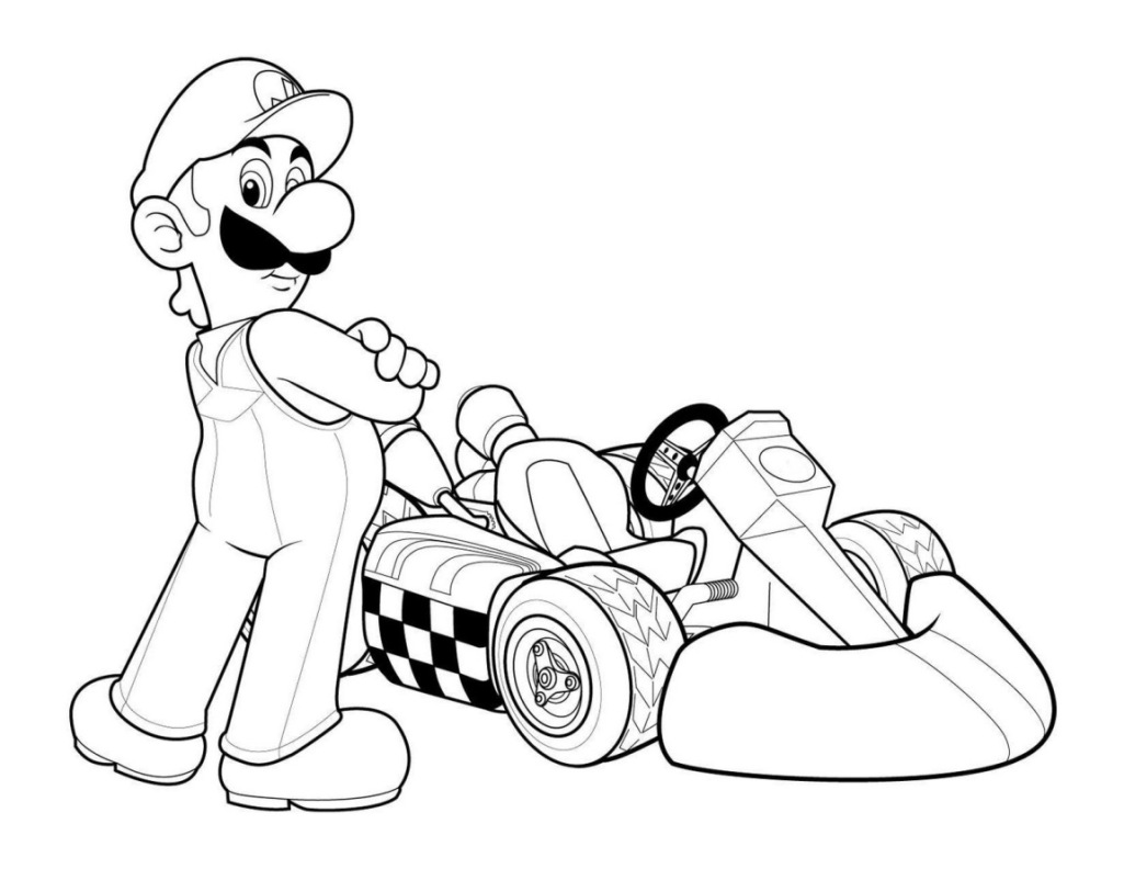 Mario and luigi coloring pages printable - Mario Kart Coloring Pages To And Print For Super Mario Bros