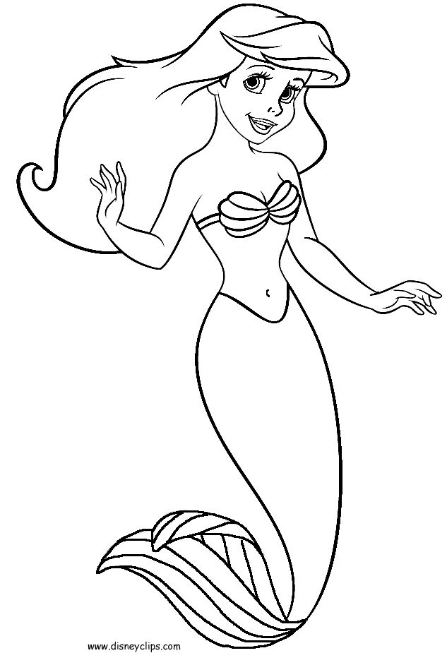 Little mermaid coloring pages to download and print for free for Free princess ariel coloring pages