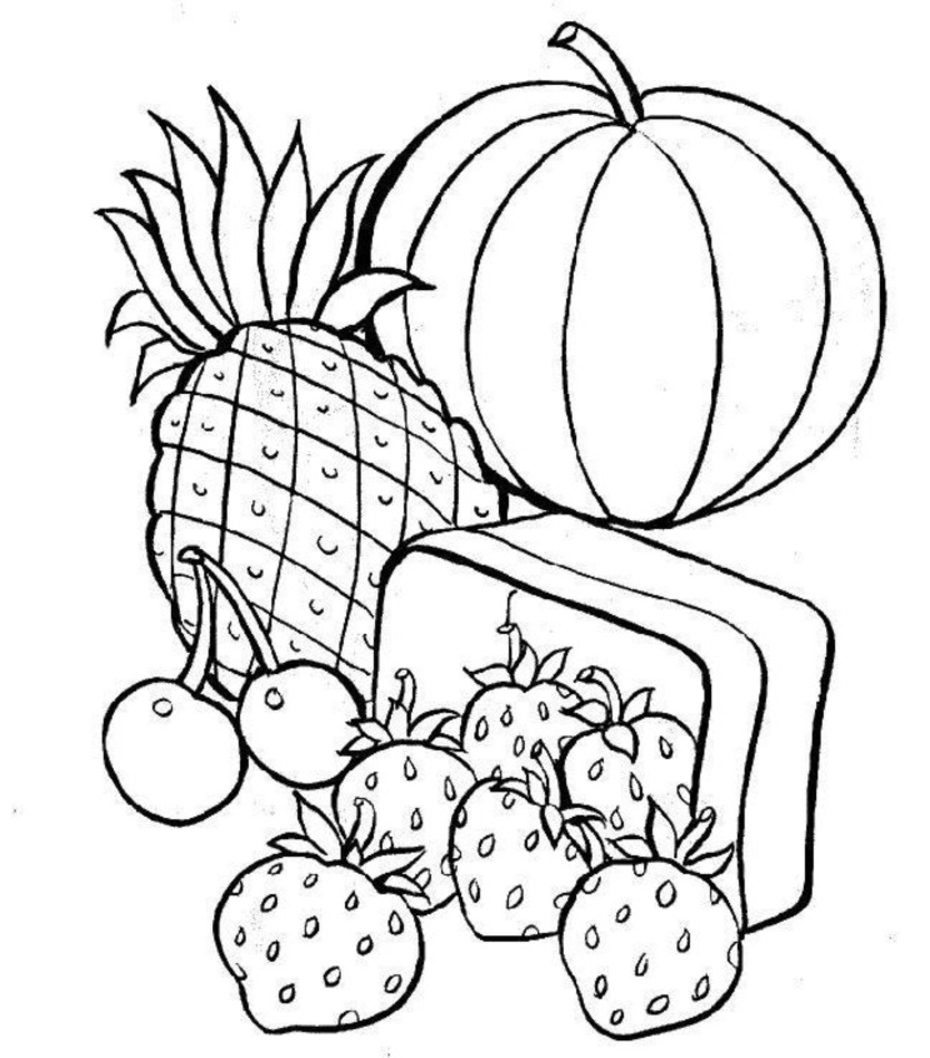 healthy food coloring pages - Healthy Food Coloring Pages