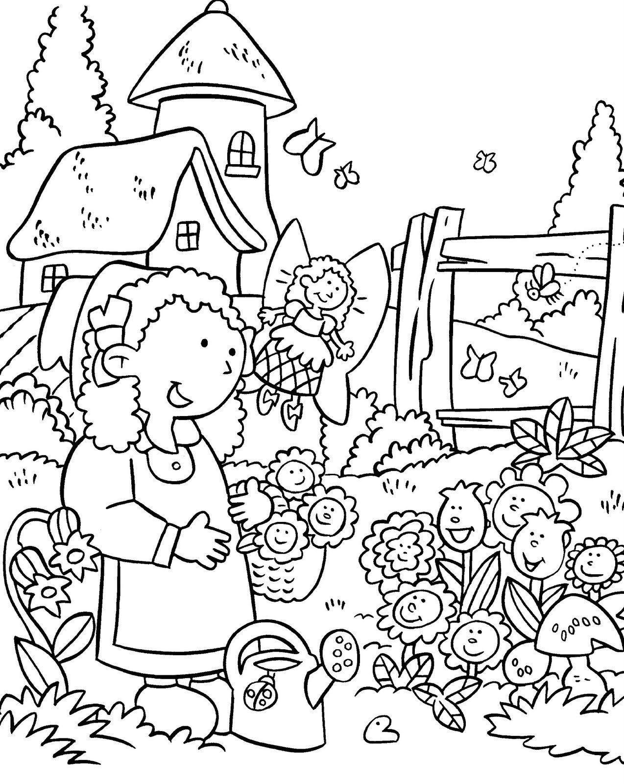 Flower Garden Drawing beautiful flower coloring page flower garden coloring pages