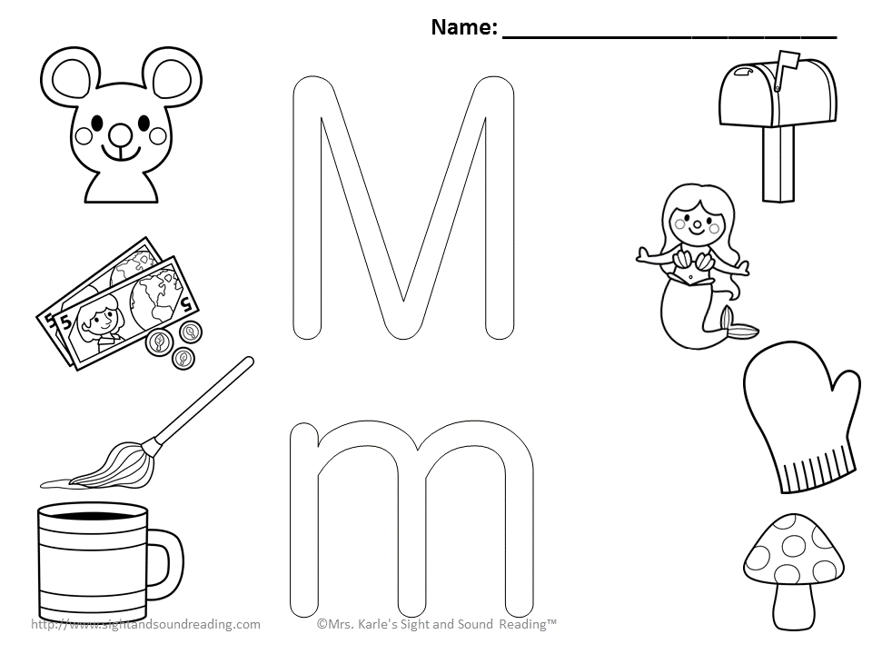 Letter m coloring pages to download and print for free