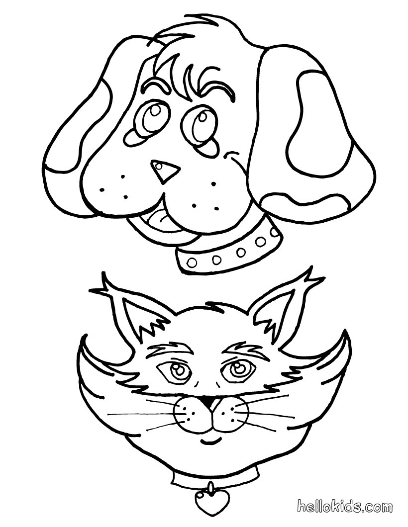 Cat and dog coloring pages to download and print for free