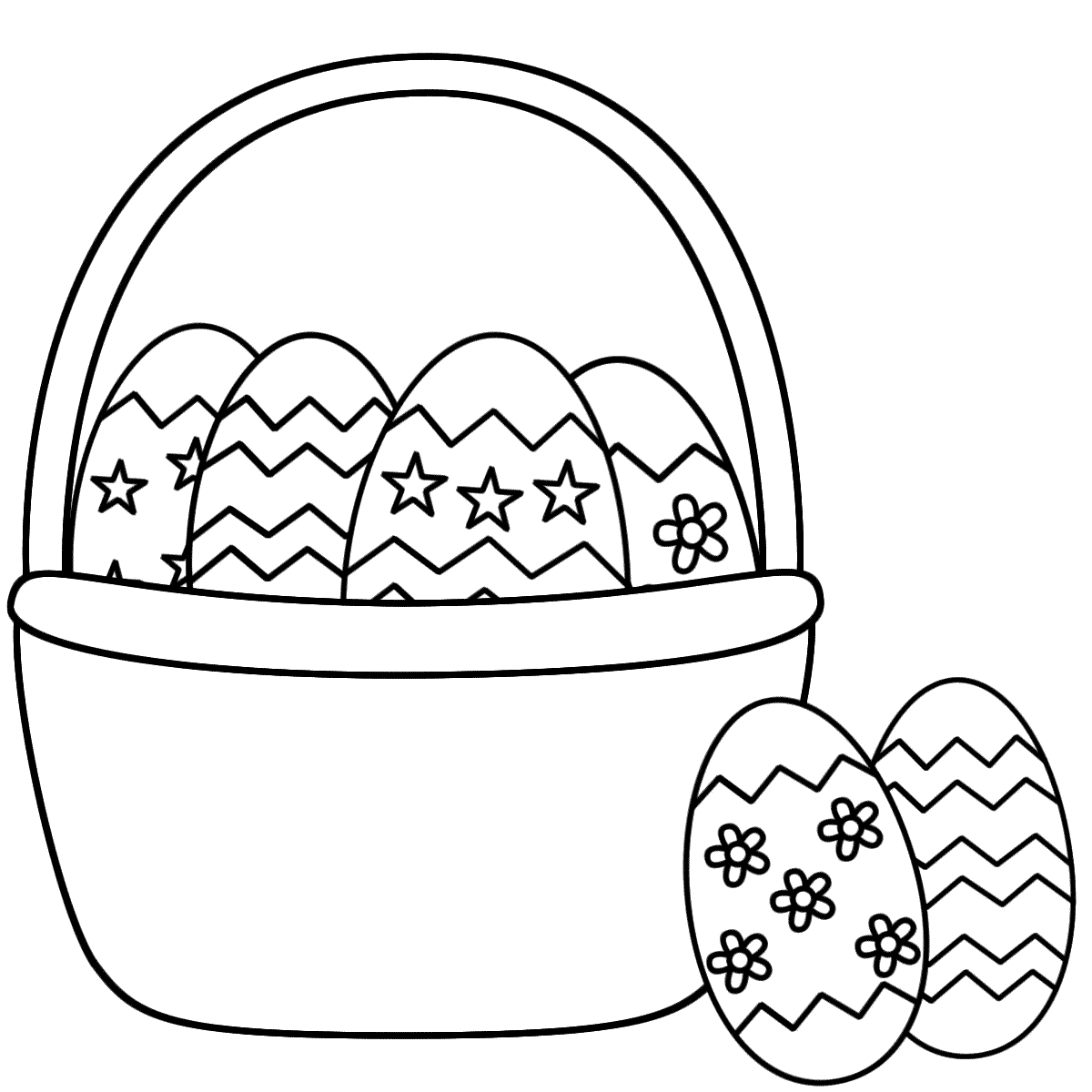 Easter basket coloring pages to