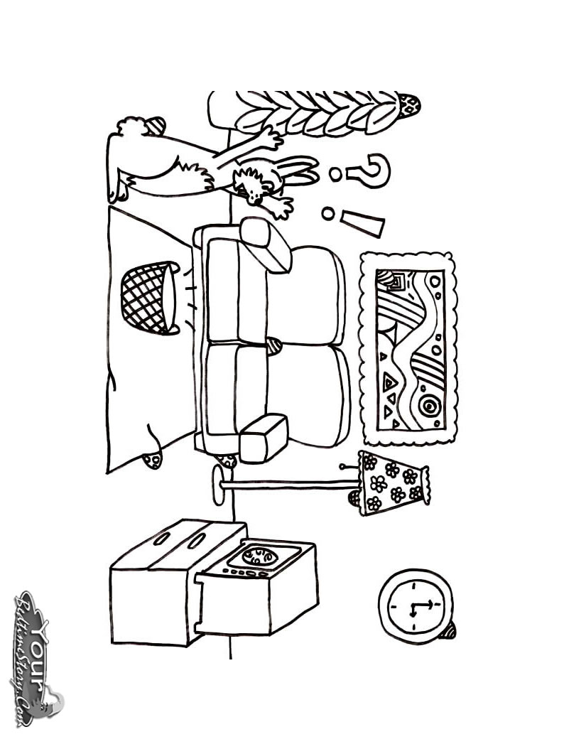 coloring pages simple living room - photo#30