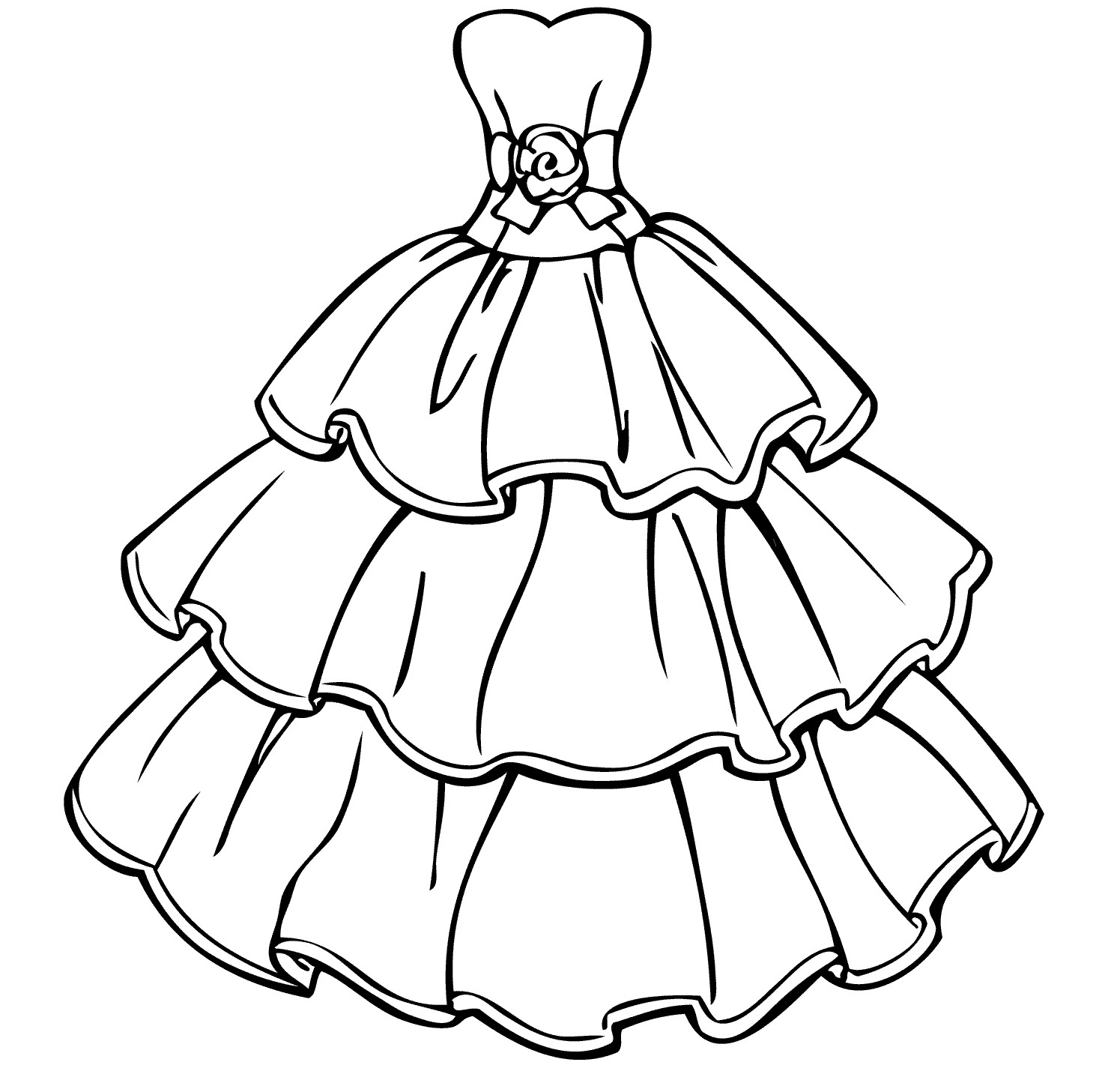 dress coloring pages to download and print for free
