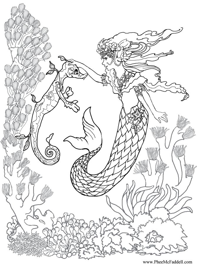 Realistic mermaid coloring pages download and print for free for Coloring page mermaid