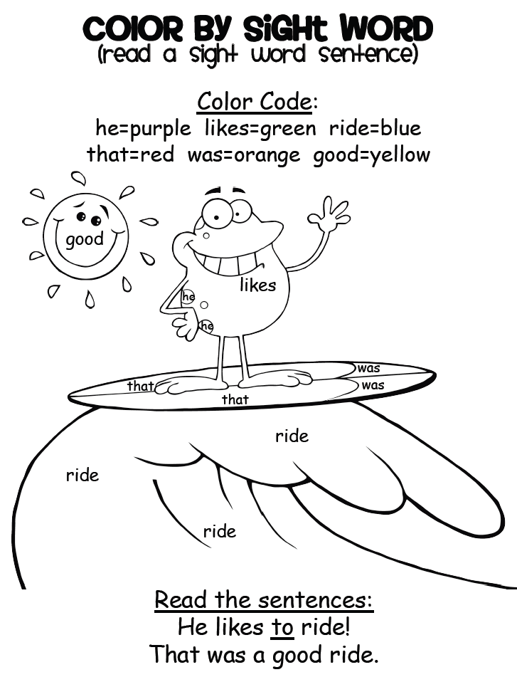 Hidden Sight Words Coloring Pages Download And Print For Free