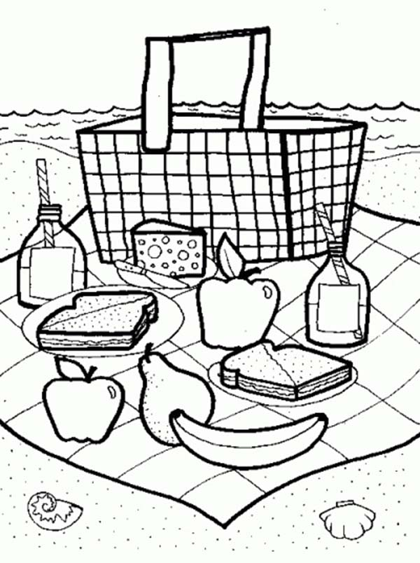 It's just an image of Sassy Picnic Coloring Page