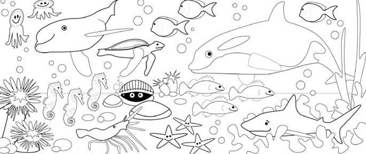 Under the sea coloring pages to download and print for free for Sea creature coloring page