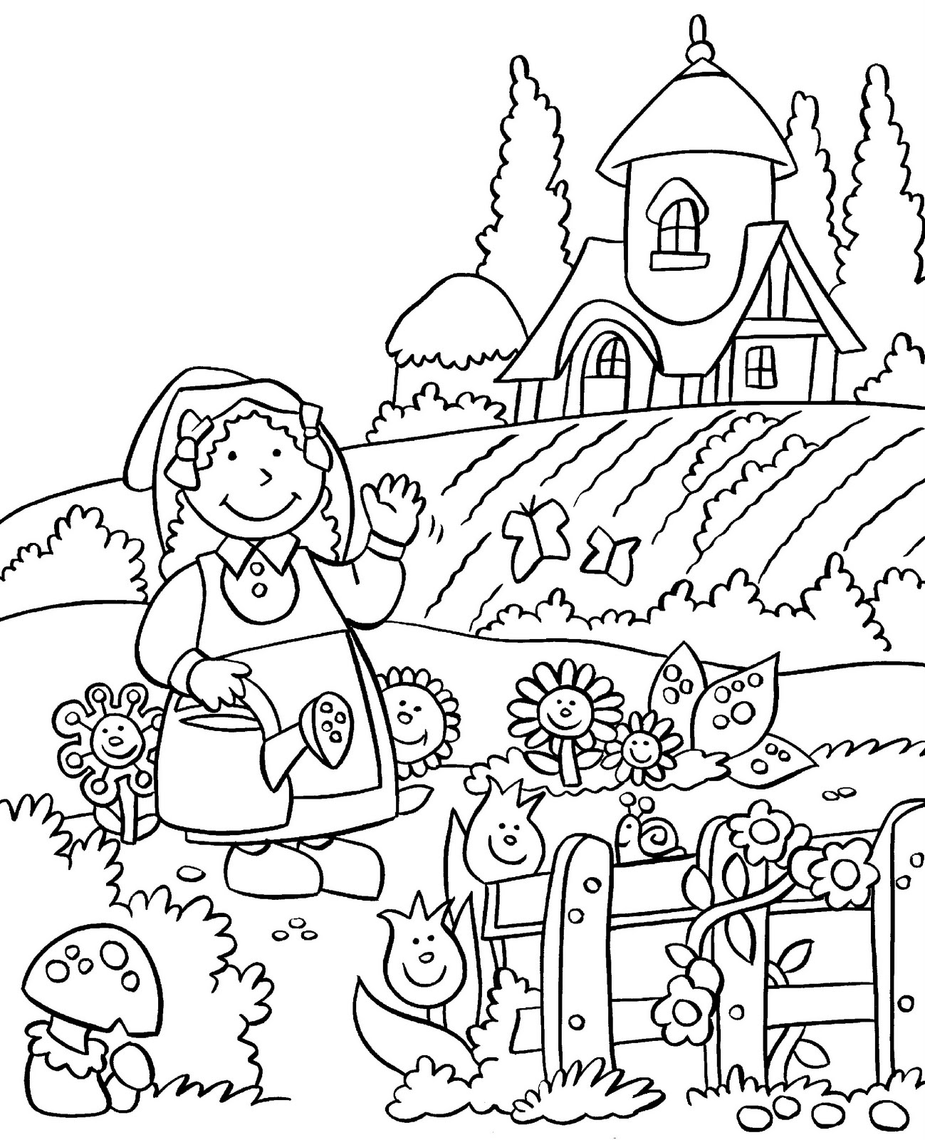 Flower garden coloring pages to download and print for free for Garden coloring page