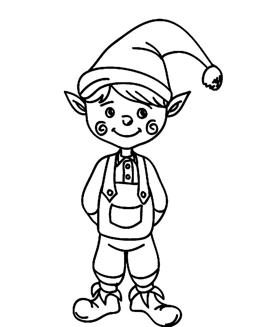 elf christmas coloring pages printable - photo#30