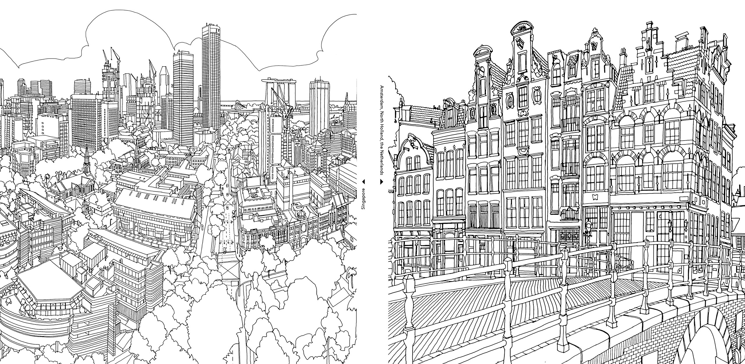 Line Art City : City coloring pages to download and print for free