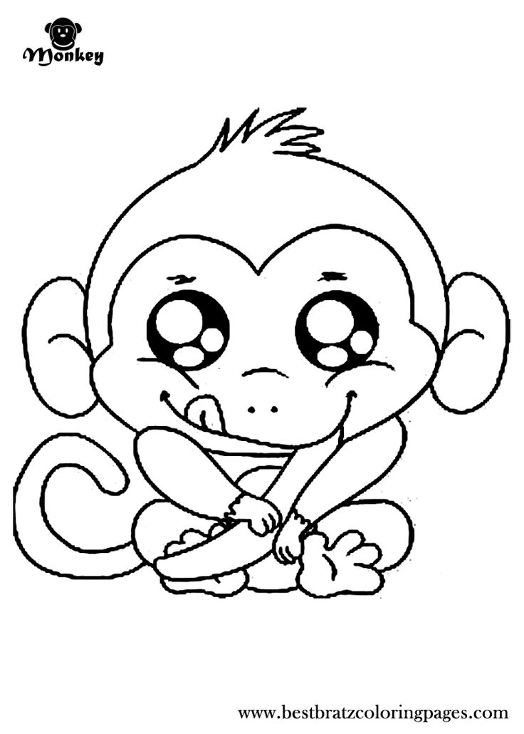 Baby monkey coloring pages to download