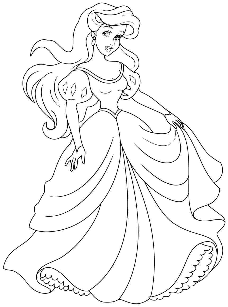 Ariel coloring pages to download and print for free for Princess printable color pages