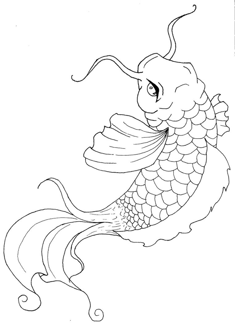 Koi fish coloring pages to download and print for free for Japanese koi fish drawing