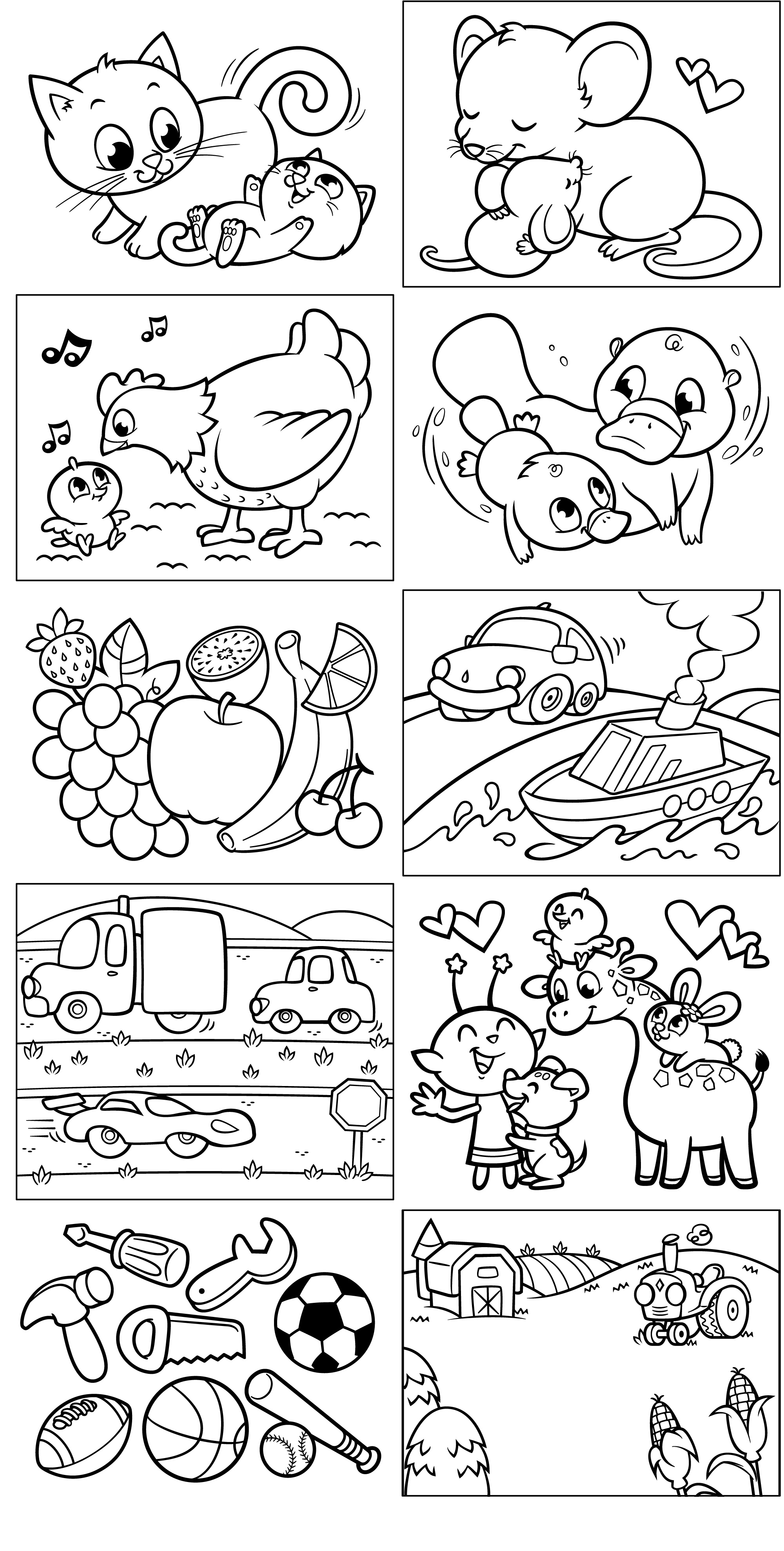 Opposites coloring pages download and print for free