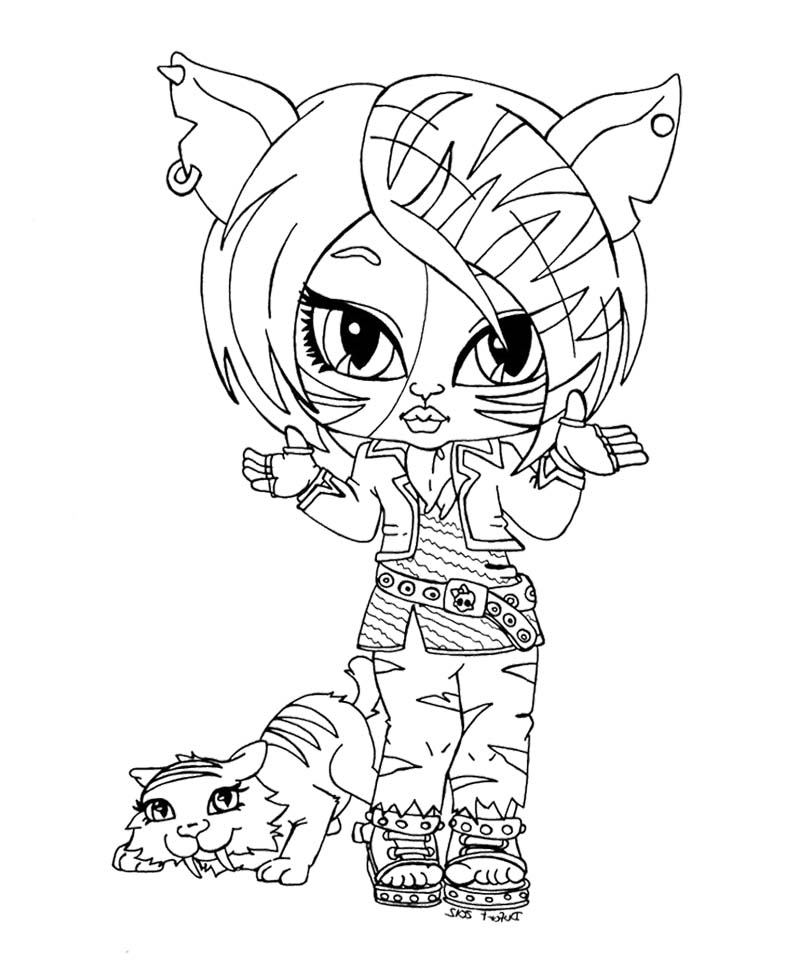 Chibi monster high coloring pages download and print for free for Monster high color pages free