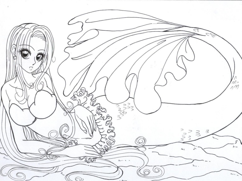 Realistic mermaid coloring pages download and print for free