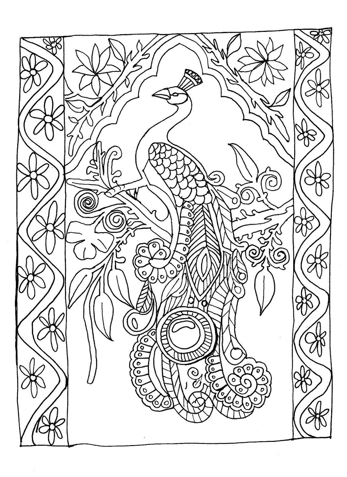 Coloring pages of peacocks - Peacocks Coloring Pages