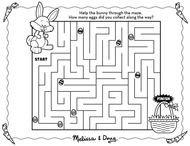 Easter maze coloring pages download