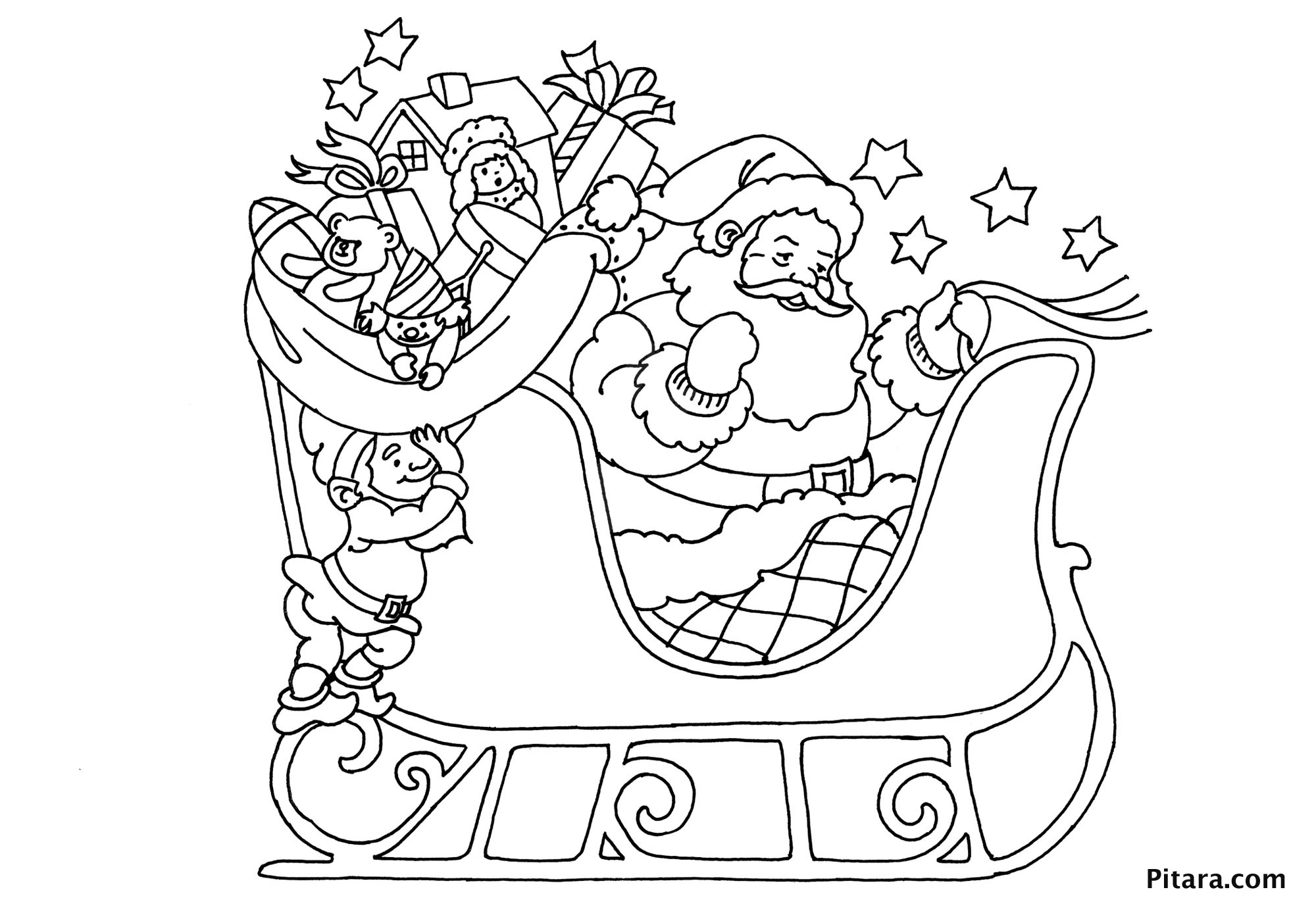 Santa Sleigh Coloring Pages - Learny Kids