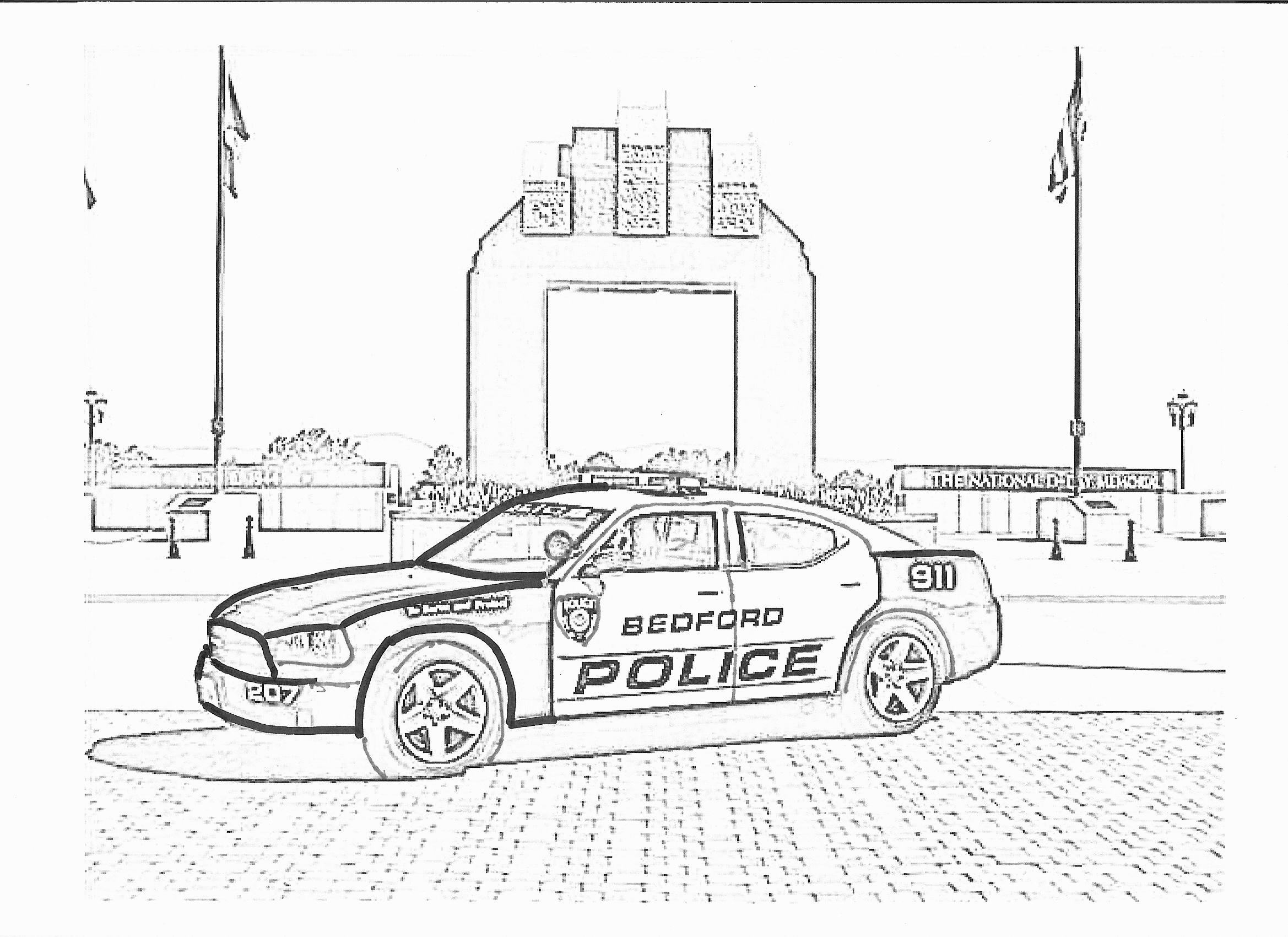 Police car coloring pages to download
