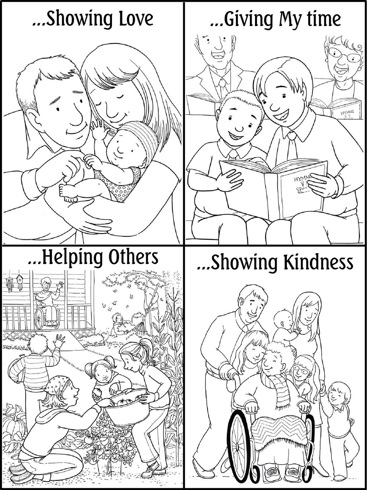 Free Coloring Pages Showing Kindness. Lds coloring pages to download and print for free