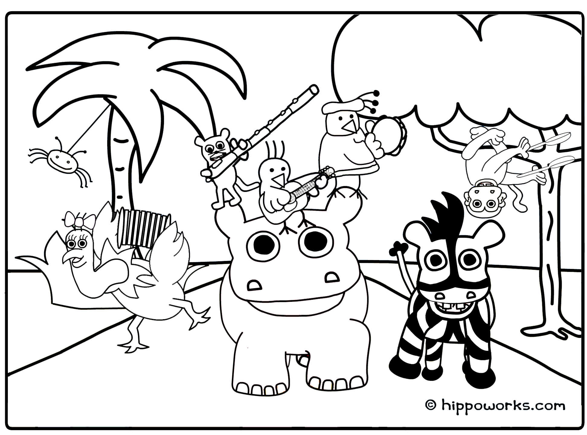 Jungle animal coloring pages to download and print for free for Animals coloring page