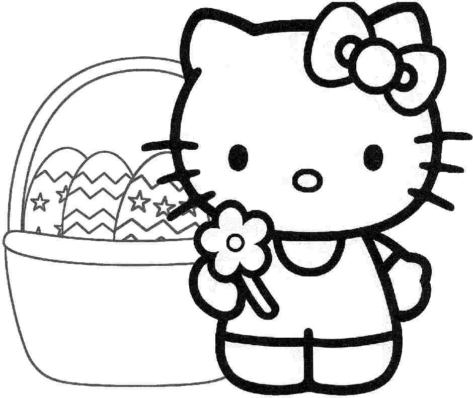 hello kitty easter coloring pages - Kitty Easter Coloring Pages
