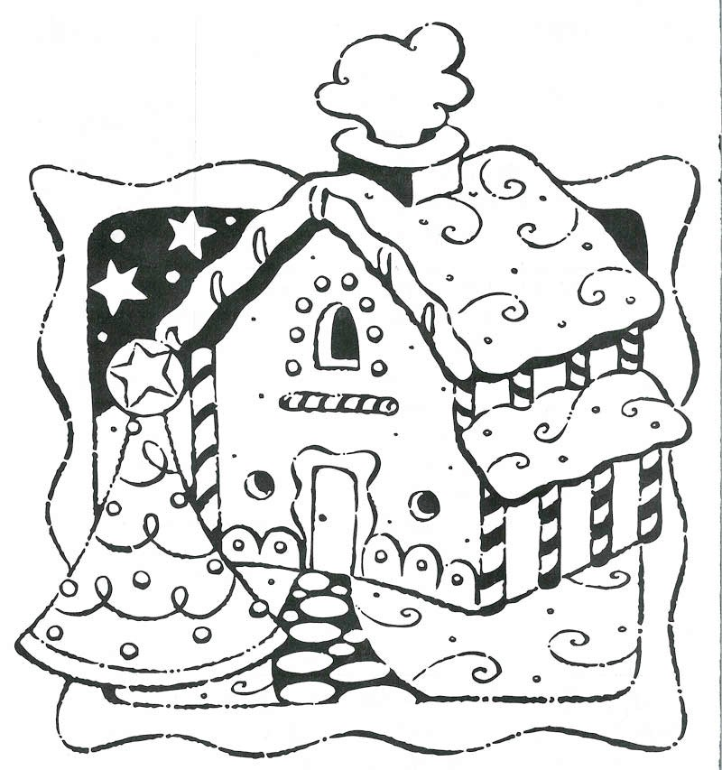 Gingerbread house coloring pages to download and print for free