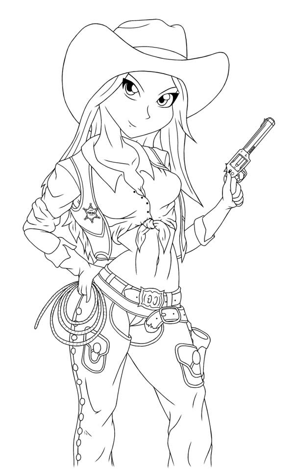 Cowgirl coloring pages to download and print for free