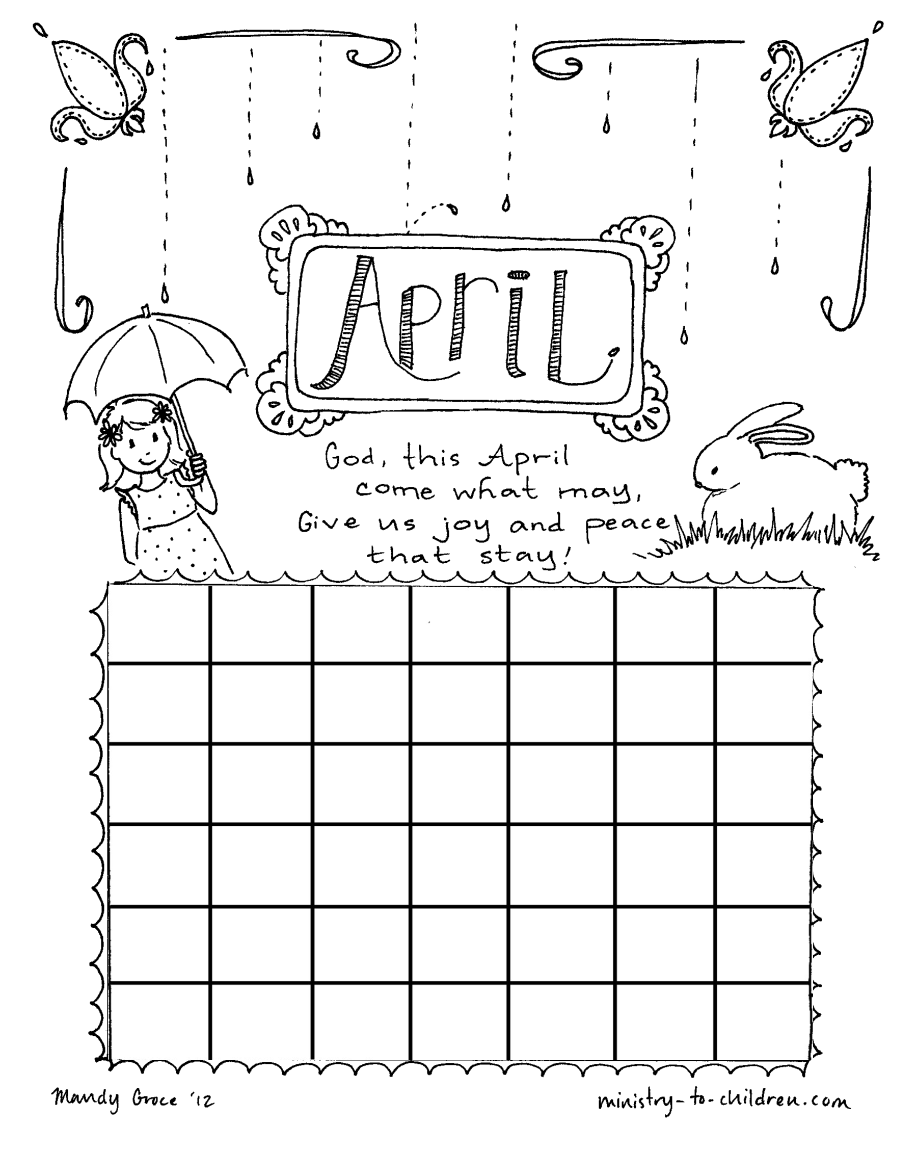 April coloring pages to download