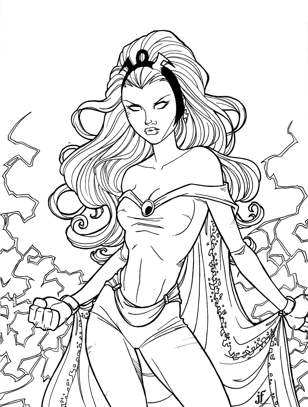 Storm superhero coloring pages and print for free
