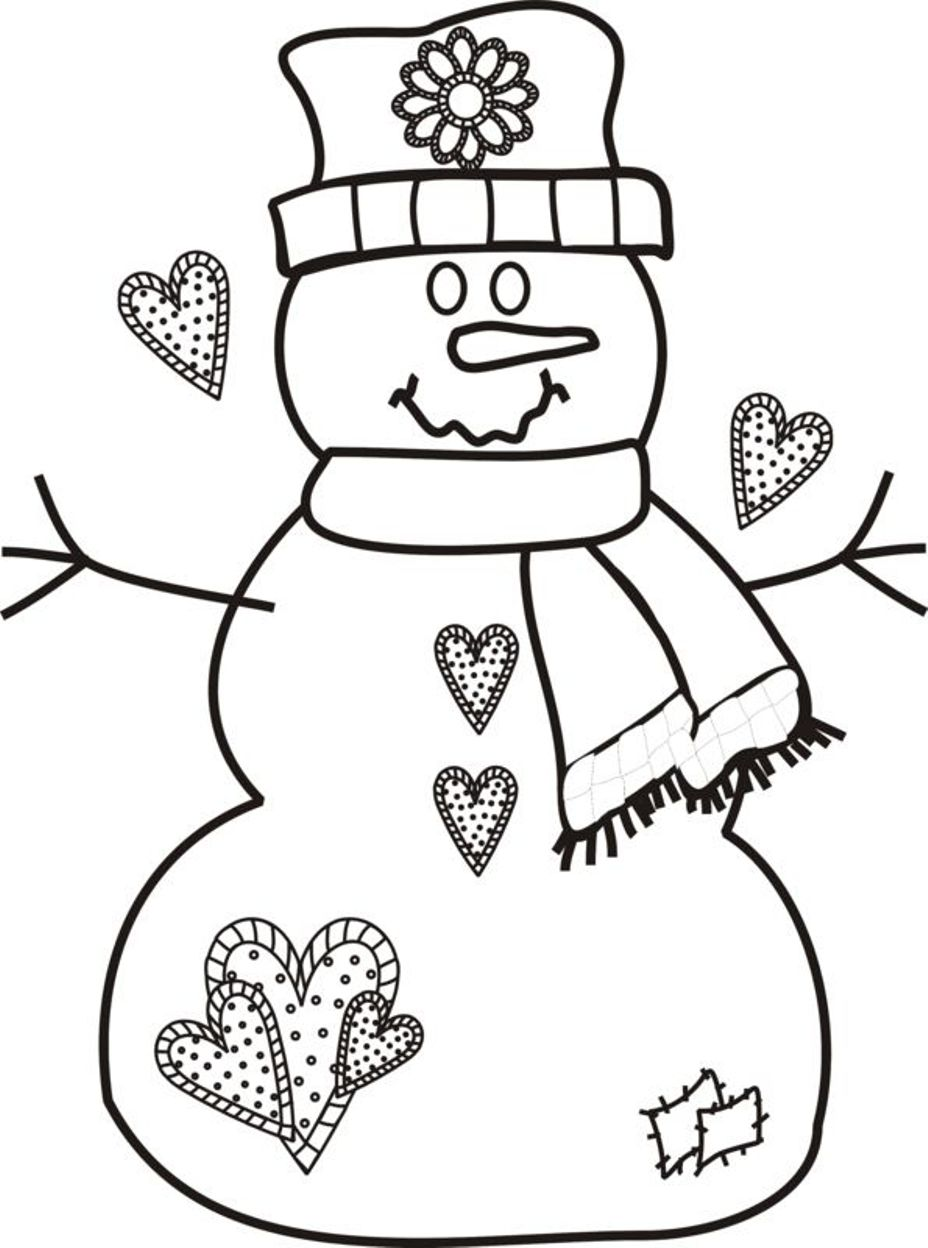christmas girl snowman coloring pages - photo#13